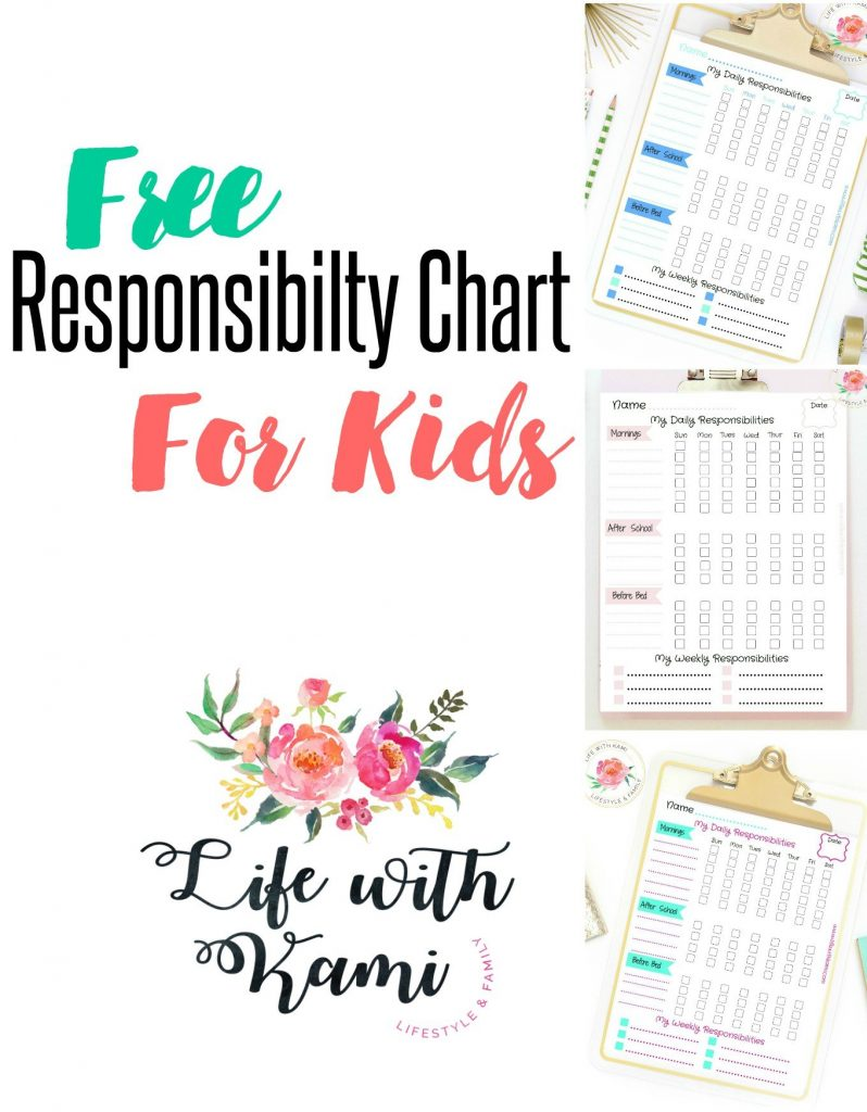 free responsibility chart for kids