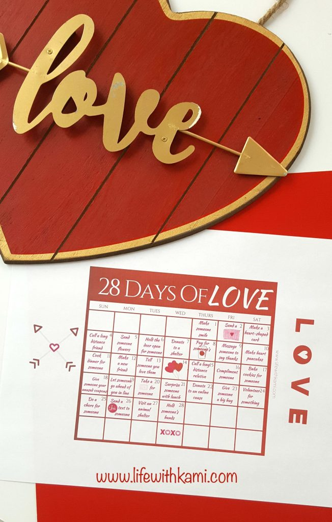 28 Days of Love Calendar Printable