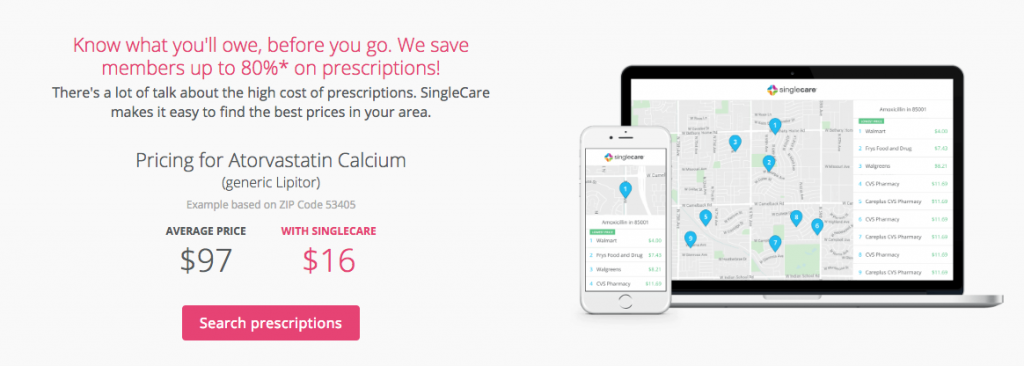 Savings on rx, vision, dental, and virtual visits with singlecare