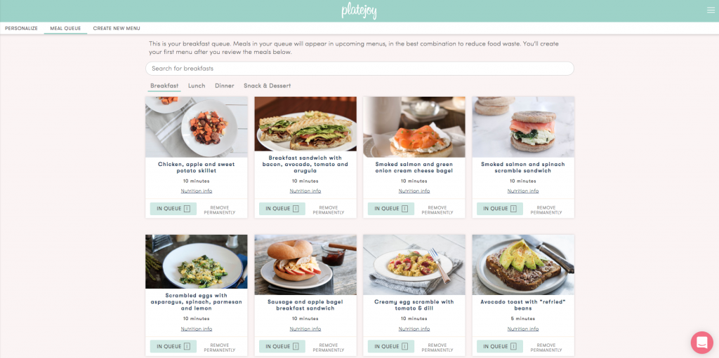 PlateJoy Review: Easy and Healthy Meal Planning - Menu