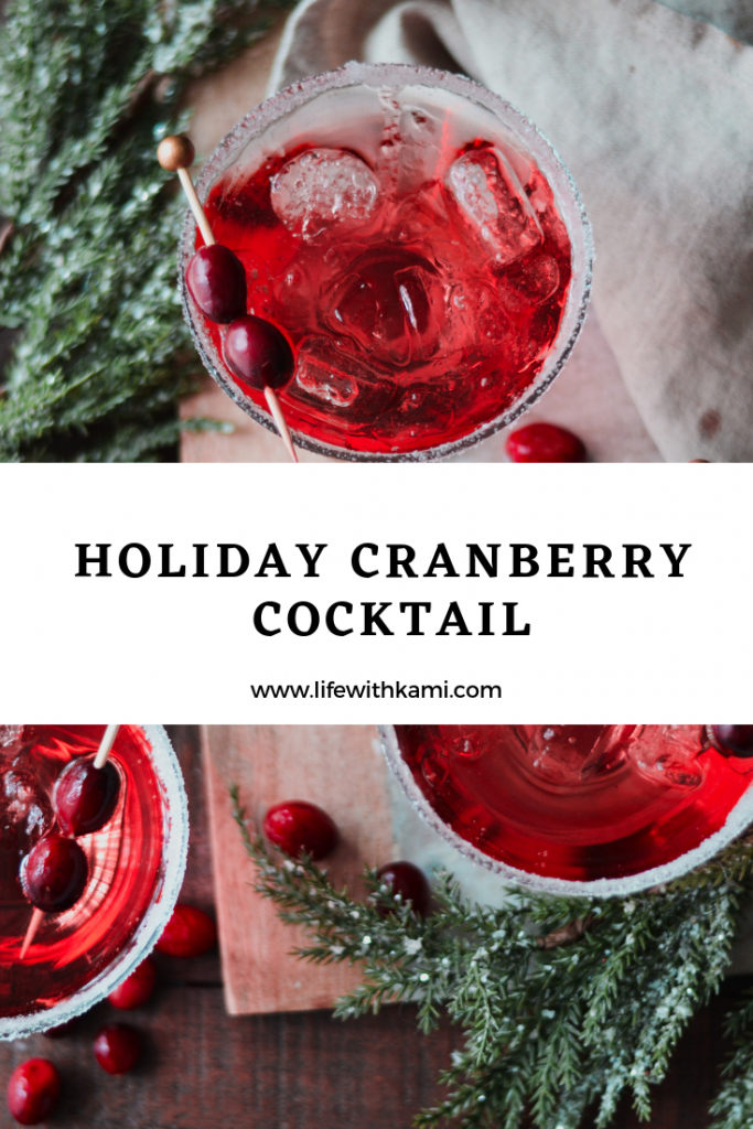 holiday drink, festive cranberries cocktail
